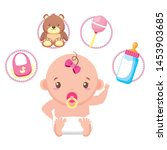 cute little baby girl with set... | Shutterstock .eps vector #1453903685