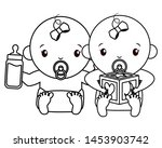 babies boy and girl baby shower ... | Shutterstock .eps vector #1453903742