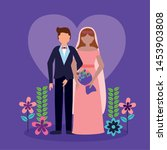couple wedding purple heart... | Shutterstock .eps vector #1453903808