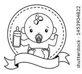 cute girl in diaper sticker... | Shutterstock .eps vector #1453904822