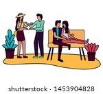 couples sitting on sofa and... | Shutterstock .eps vector #1453904828