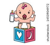 cute little baby girl with... | Shutterstock .eps vector #1453904972