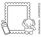 cute little elephant baby card... | Shutterstock .eps vector #1453905512
