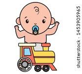 cute little baby boy with train ... | Shutterstock .eps vector #1453905965