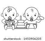 babies boy and girl baby shower ... | Shutterstock .eps vector #1453906205