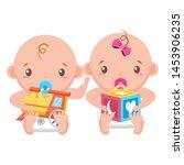 babies boy and girl baby shower ... | Shutterstock .eps vector #1453906235