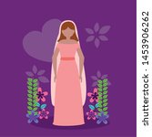 bride wedding pink dress... | Shutterstock .eps vector #1453906262