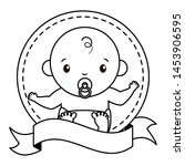 baby boy with pacifier sticker... | Shutterstock .eps vector #1453906595