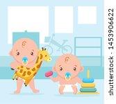 cute little babies boys with... | Shutterstock .eps vector #1453906622