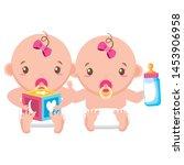 babies boy and girl baby shower ... | Shutterstock .eps vector #1453906958