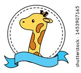 giraffe stuffed baby toy frame... | Shutterstock .eps vector #1453907165
