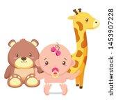 cute little baby girl with bear ... | Shutterstock .eps vector #1453907228