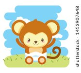 cute little monkey baby... | Shutterstock .eps vector #1453907648
