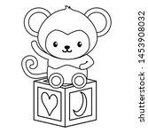cute little monkey with block... | Shutterstock .eps vector #1453908032