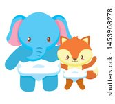 cute little elephant with fox... | Shutterstock .eps vector #1453908278