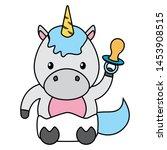 cute little unicorn with... | Shutterstock .eps vector #1453908515