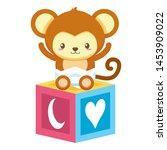 cute little monkey with block... | Shutterstock .eps vector #1453909022