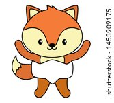 cute little fox baby character... | Shutterstock .eps vector #1453909175