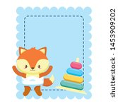 cute little fox baby with rings ... | Shutterstock .eps vector #1453909202
