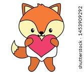 cute little fox baby with heart ... | Shutterstock .eps vector #1453909292