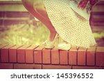 woman legs in white high heel... | Shutterstock . vector #145396552