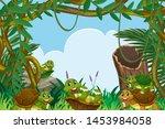 turtle in jungle scene... | Shutterstock .eps vector #1453984058