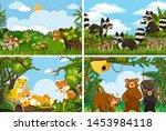 set of various animals in... | Shutterstock .eps vector #1453984118