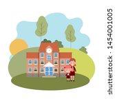 school building of primary with ... | Shutterstock .eps vector #1454001005