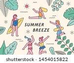 girls enjoying summer vacation. ... | Shutterstock .eps vector #1454015822
