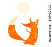 retro cartoon clever fox with... | Shutterstock .eps vector #145403302