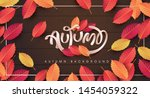 autumn leaves falling on wood... | Shutterstock .eps vector #1454059322