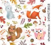 Seamless Pattern Cute Fox...