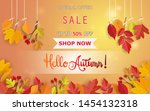 autumn design with leaves.... | Shutterstock .eps vector #1454132318