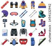 snowboarding equipment icons... | Shutterstock .eps vector #1454132942