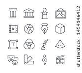 set of art related vector line... | Shutterstock .eps vector #1454146412