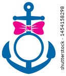 anchor and bow vector... | Shutterstock . vector #1454158298
