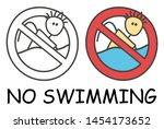funny vector stick swimmer in... | Shutterstock .eps vector #1454173652