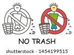 funny vector stick litter man... | Shutterstock .eps vector #1454199515