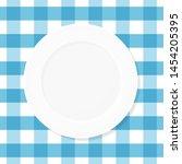 white empty plate on blue...   Shutterstock .eps vector #1454205395
