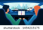 couple in self driving... | Shutterstock .eps vector #1454215175