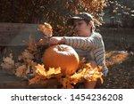 young european boy in stripy...   Shutterstock . vector #1454236208