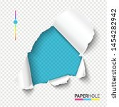 bright azure torn paper hole... | Shutterstock .eps vector #1454282942