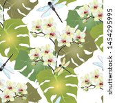 Stock photo watercolor tropical leaves with flowers orchid and dragonfly floral seamless pattern on white 1454295995
