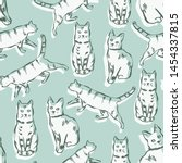 Stock vector vector cats seamless pattern hand drawn cat illustration seamless print illustration for 1454337815