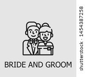 outline bride and groom vector... | Shutterstock .eps vector #1454387258