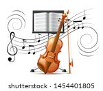 realistic violin at background... | Shutterstock .eps vector #1454401805