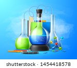 realistic chemistry laboratory... | Shutterstock .eps vector #1454418578