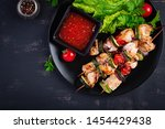 grilled meat skewers  chicken ... | Shutterstock . vector #1454429438