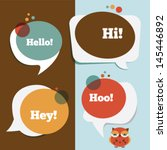 retro colored speech bubbles... | Shutterstock .eps vector #145446892