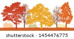 trees in autumn silhouette.... | Shutterstock .eps vector #1454476775